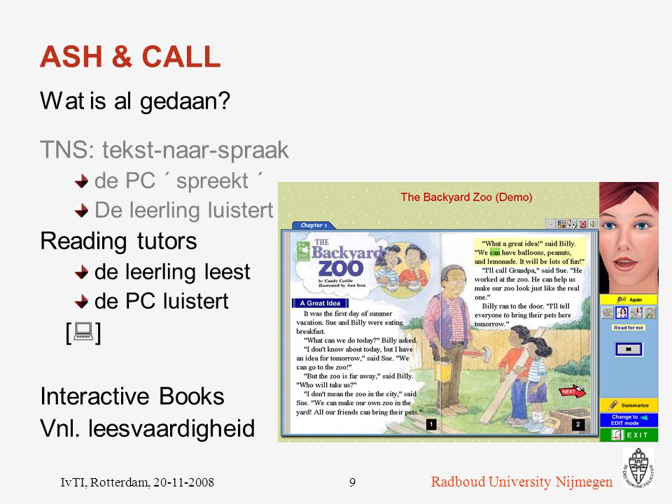 ASH & CALL Wat is al gedaan TNS: tekst-naar-spraak Reading tutors []